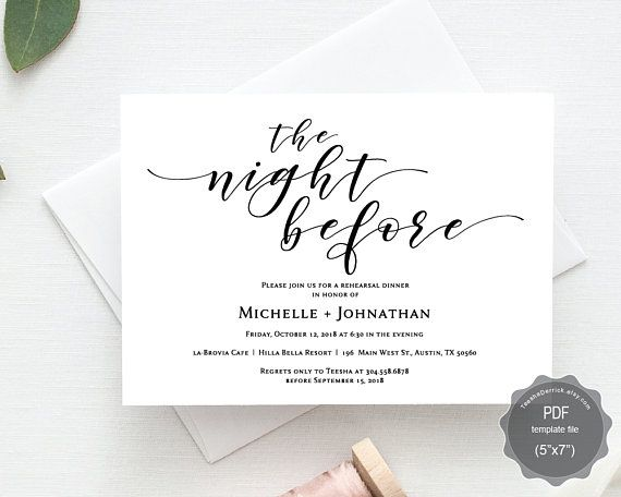 The night before wedding rehearsal dinner invitation card pdf the night before wedding rehearsal dinner invitation card pdf editable template the night before our stopboris Gallery
