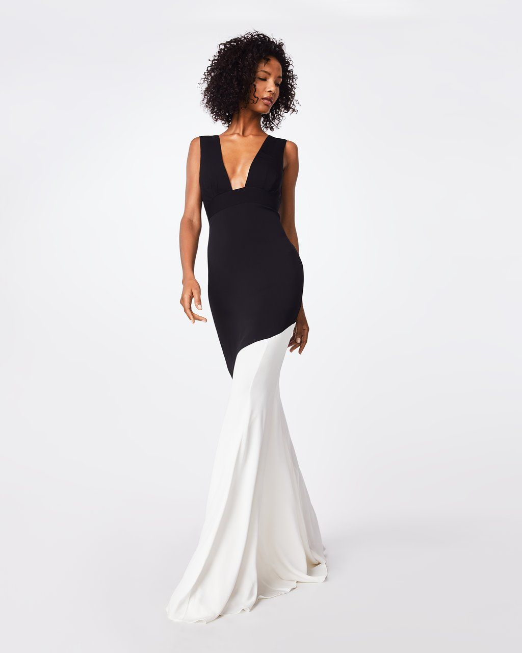 0a40a441559 BQ10347 - COLOR BLOCK PLUNGE GOWN - dresses - long - A tasteful body-slimming  dress
