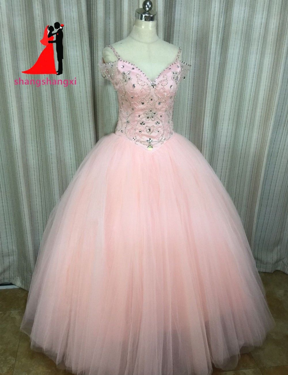 2017 V-Neck Ball Gown Coral Quinceanera Dresses Crystal Beads Tulle ...