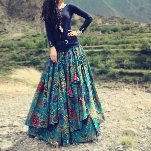 Floral Print Bohemian Pleated Maxi Skirt 13