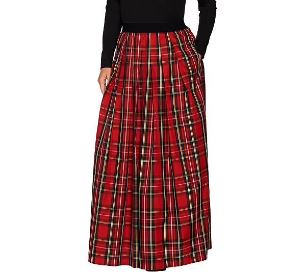 cec072260d Grown-up girls need goodies, too, like this Joan Rivers holiday plaid maxi  skirt. QVC.com