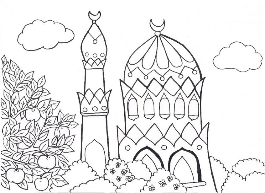 Gambar Untuk Mewarnai Anak Muslim Education Islam Coloring