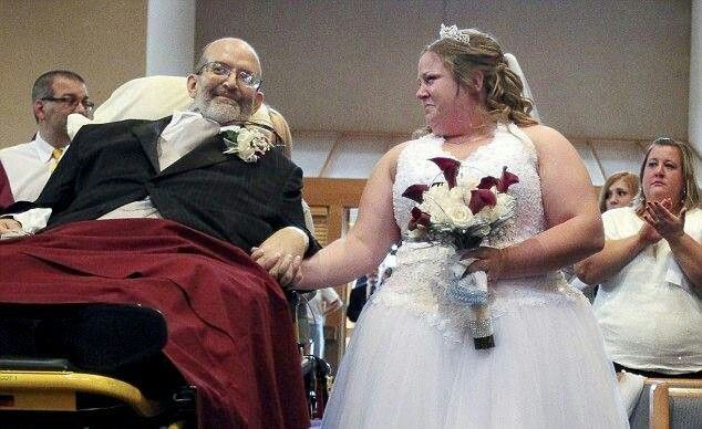 """Dieng father takes his daughter down the aisle on his hospital bed. """"It was a promise I made"""" he said"""