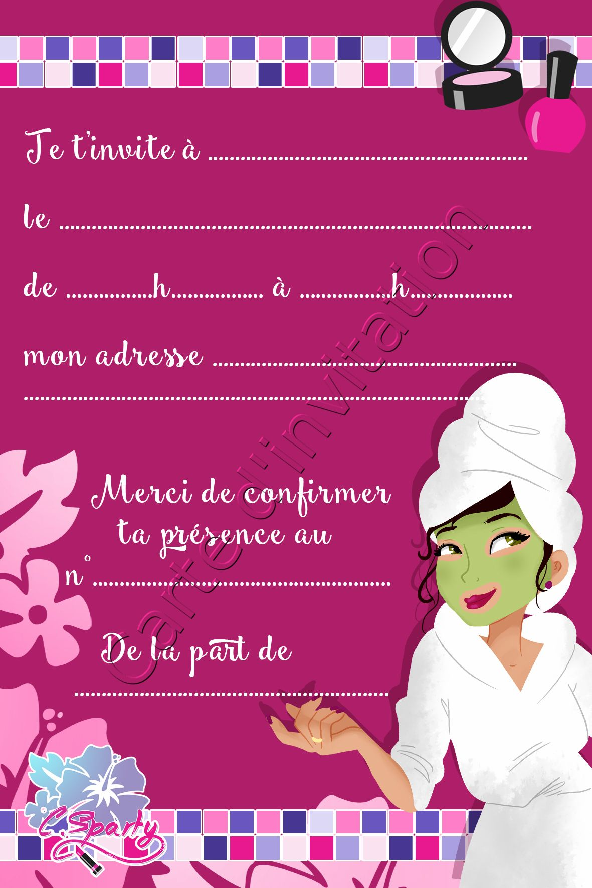 Www Jolie Carte Com Jolie Carte D Invitation Pour Spa Party Cartonnée Cartes D
