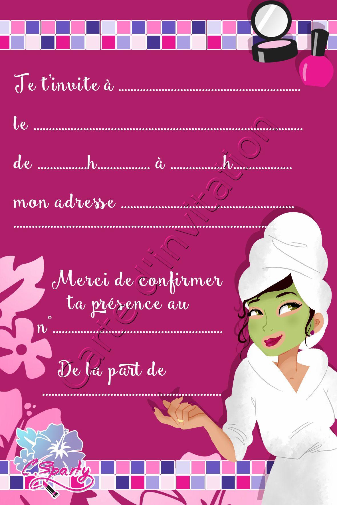 jolie carte d invitation pour spa party