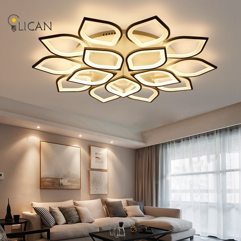 Modern Led Crystal Ceiling Lights Remote Dimming Flat Panel Lamp Living Room Bedroom Lights Indoor Home Fixtures Free Shipping Excellent In Quality