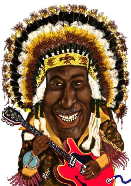 Caricatura del músico de Blues, Eddie Clearwaters