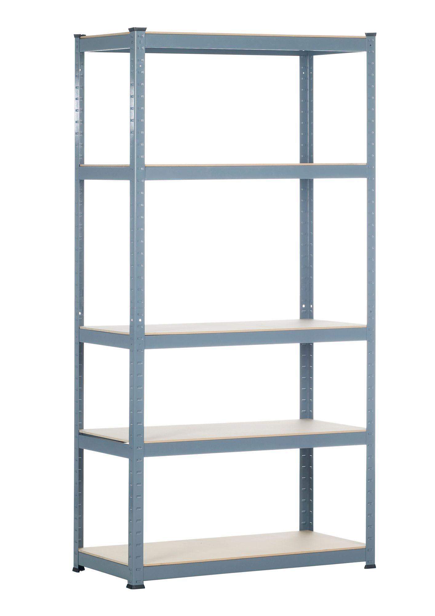 Raxa Power 5 Shelf Chipboard Steel Shelving Unit Rooms Diy At B Q Steel Shelving Unit Steel Shelving Shelves