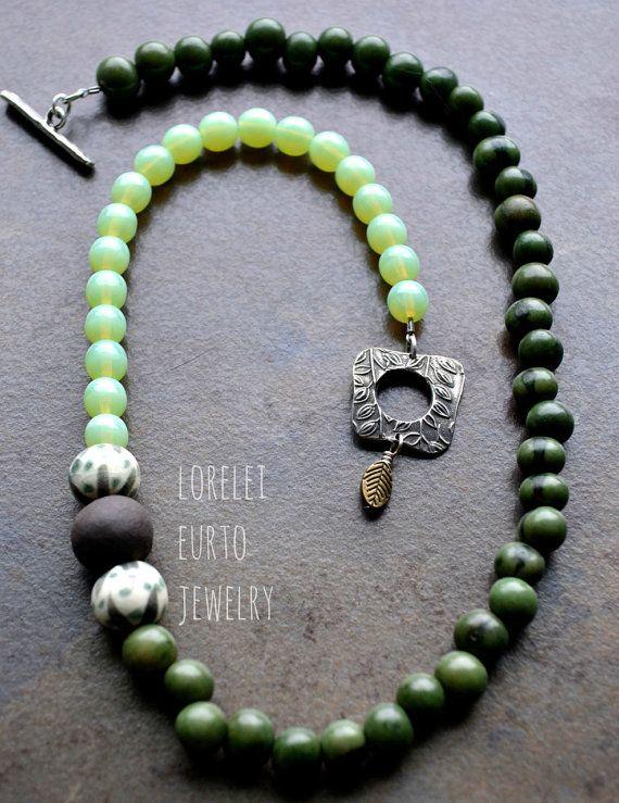 Green Acai Seed Beaded Necklace with Glass by LoreleiEurtoJewelry