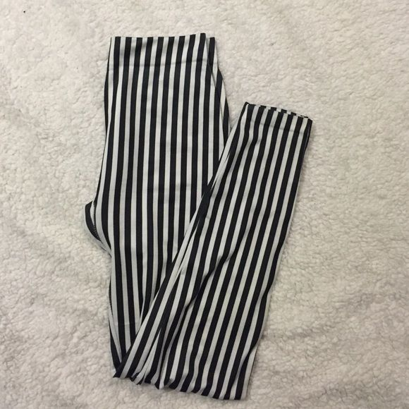 Striped leggings Worn once. One size fits most. Pants Leggings
