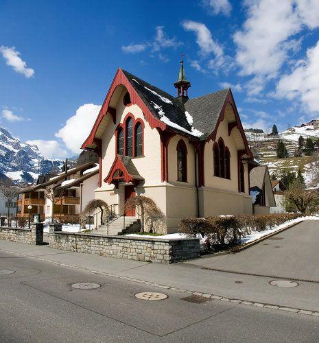 A church at the Engelberg ski resort.