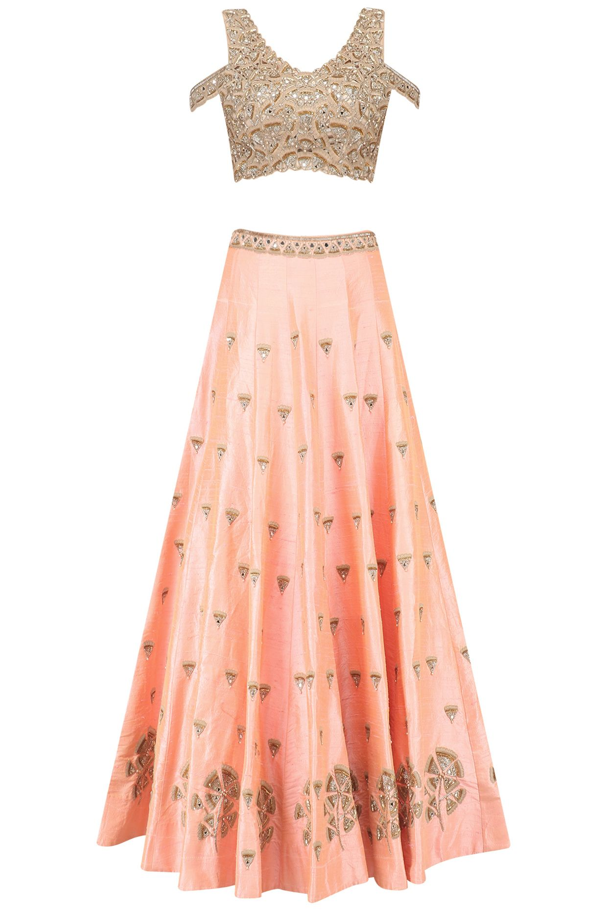 dff5fe192f8ee Nude Peach gingko embroidered lehenga skirt and cold shoulder blouse set  available only at Pernia s Pop Up Shop.