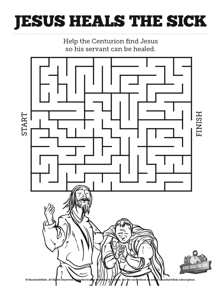 Jesus Heals The Sick Bible Mazes For Many Who Were Sick In Mathew