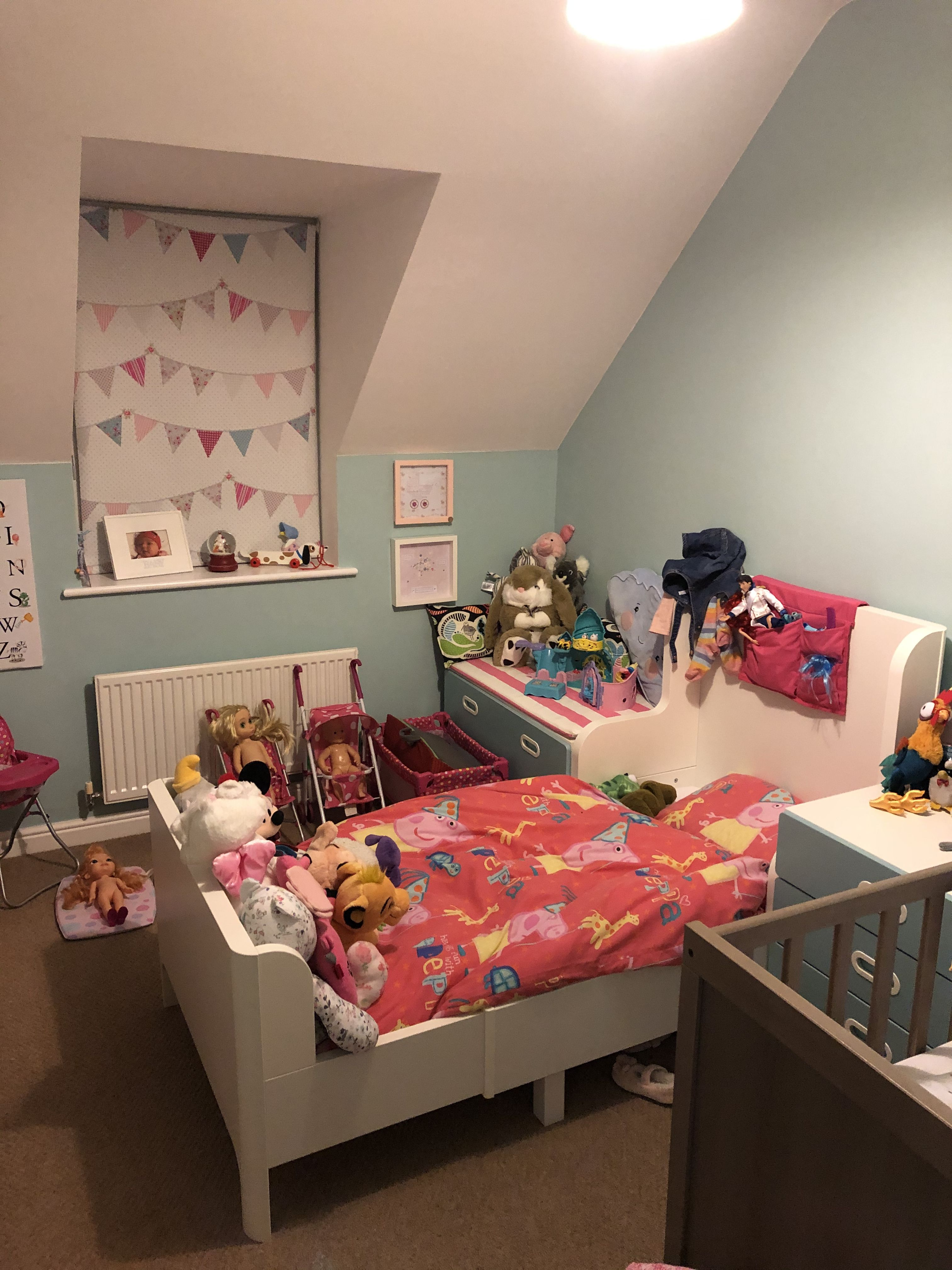 Unisex bedroom for 3 year old girl and 6 month old boy