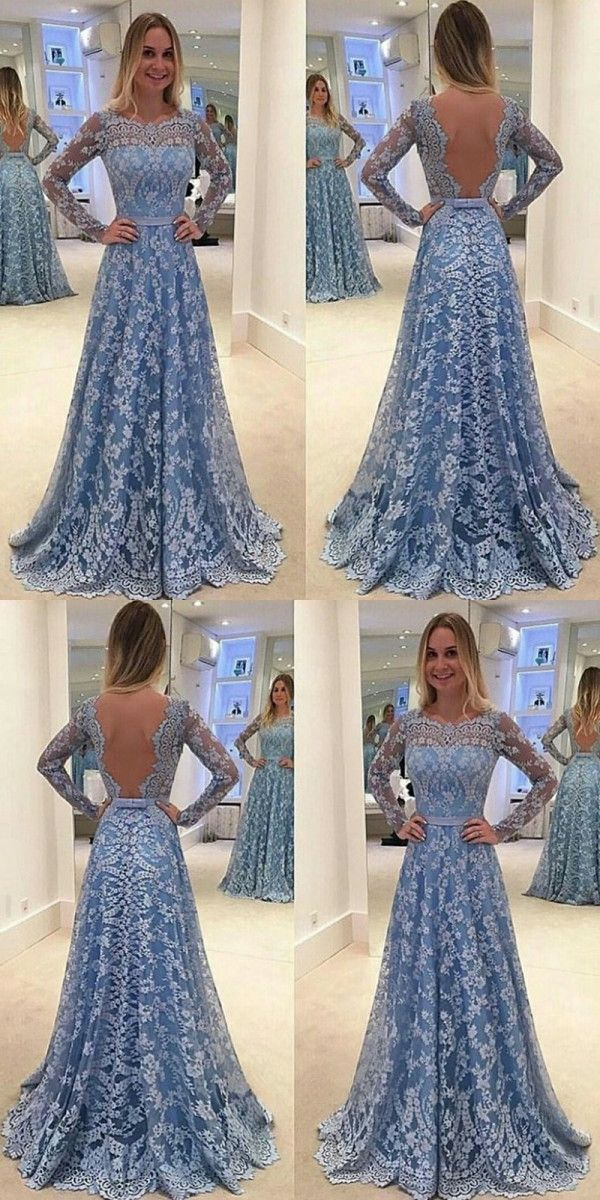 d23b2c7fd88 Long Prom Dresses Scoop A Line Floor-length Long Sleeve Lace Prom Dress  Sexy Evening Dress JKL639