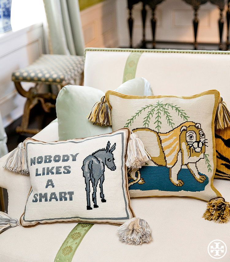 The Donkey needlepoint pillow from Tory Burch is based on the beloved cushions her parents — both avid needlepointers — would make for each other and infuses any living space with wit and a cheeky sense of wisdom.