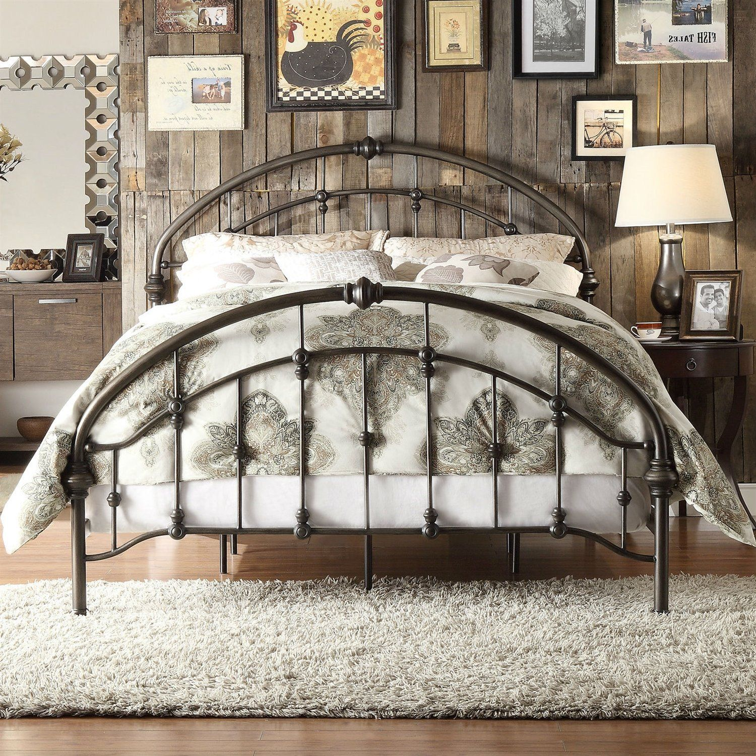 King size Antique Dark Bronze Metal Bed with Arch