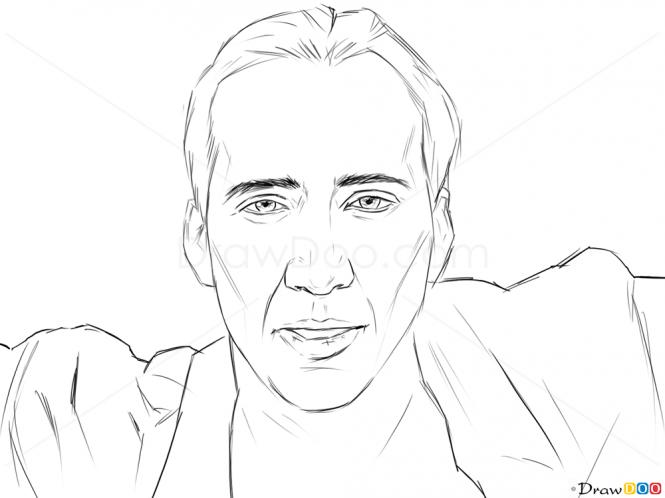 How To Draw Nicolas Cage Famous Actors Nicolas Cage Nicolas Landscape Drawing For Kids