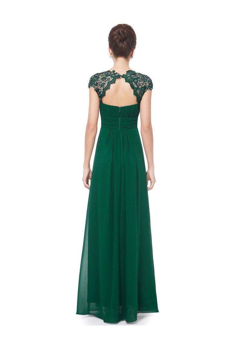 Langes Chiffon-Abendkleid mit Spitze in Grün - online bestellen