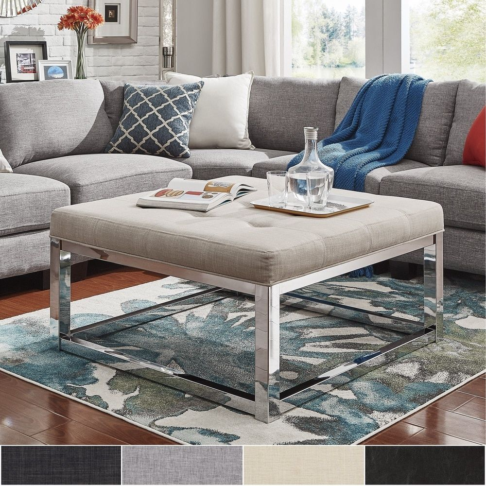 Solene Square Base Ottoman Coffee Table - Chrome by INSPIRE Q