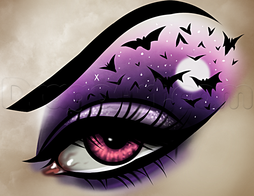 How to Draw Halloween Eye Makeup, Step by Step, Halloween ...