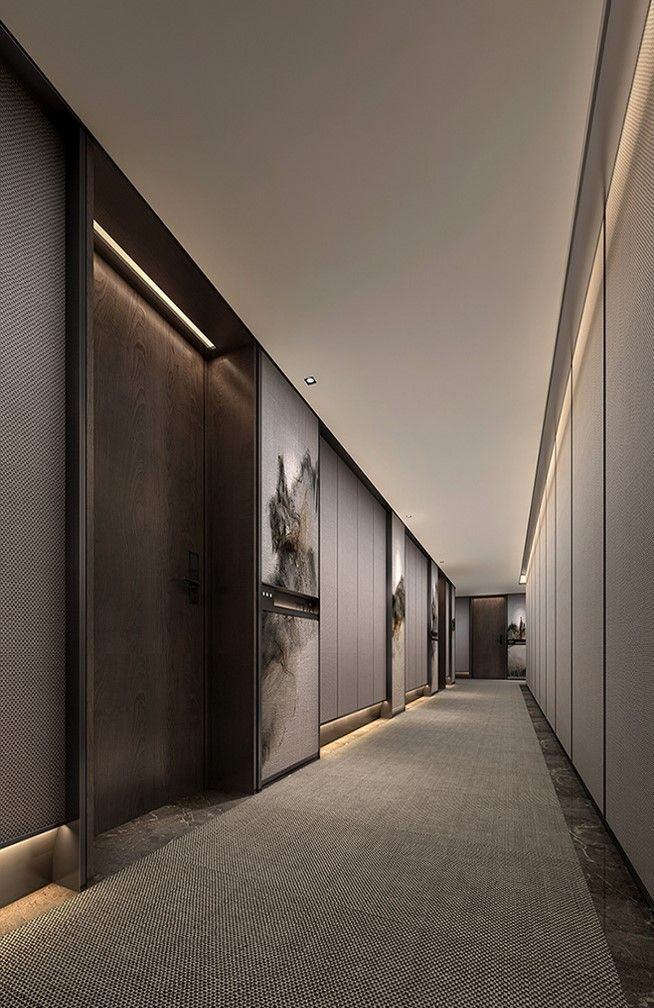 Contemporary guestroom corridor corridors lift lobby for Hotel corridor decor