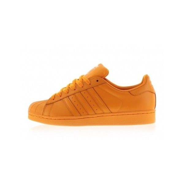 S83394 Bright Orange/Bright Orange/Bright Orange Pharell x Adidas... ($120) ❤ liked on Polyvore featuring shoes, sneakers, adidas, shoes., adidas shoes, adidas sneakers, bright orange sneakers, adidas footwear and adidas trainers