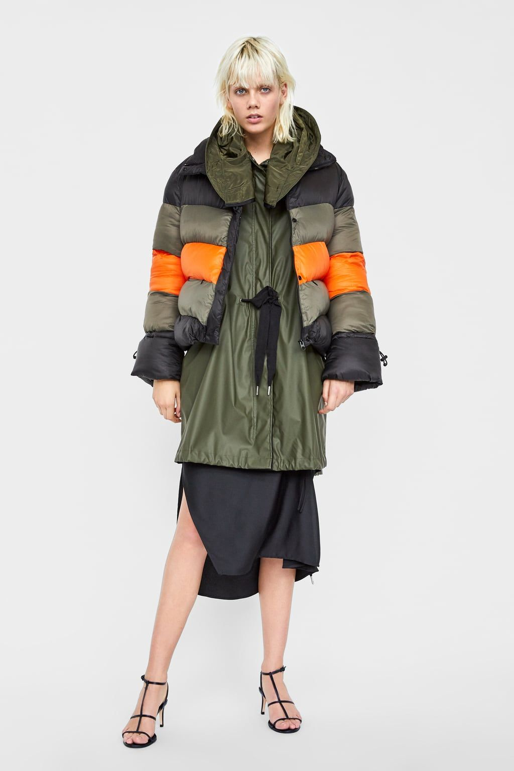ae7d1bb6 Block color puffer jacket | fashion | Puffer jackets, Jackets, Puffy ...