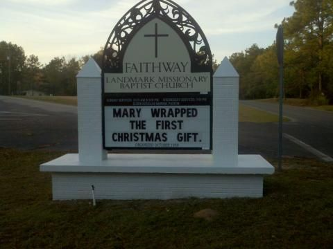 Early Christmas Present Meme.Mary Wrapped The First Christmas Present Church Signs