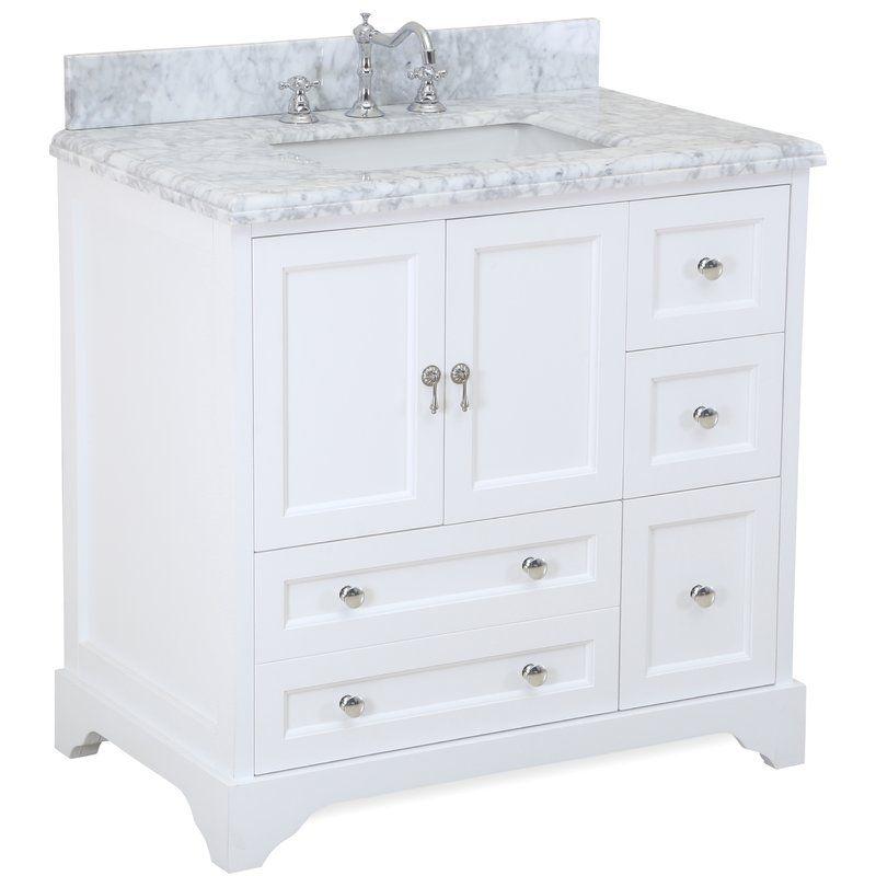 Aria 36 Inch Vanity Carrara Marble White Vanity Bathroom