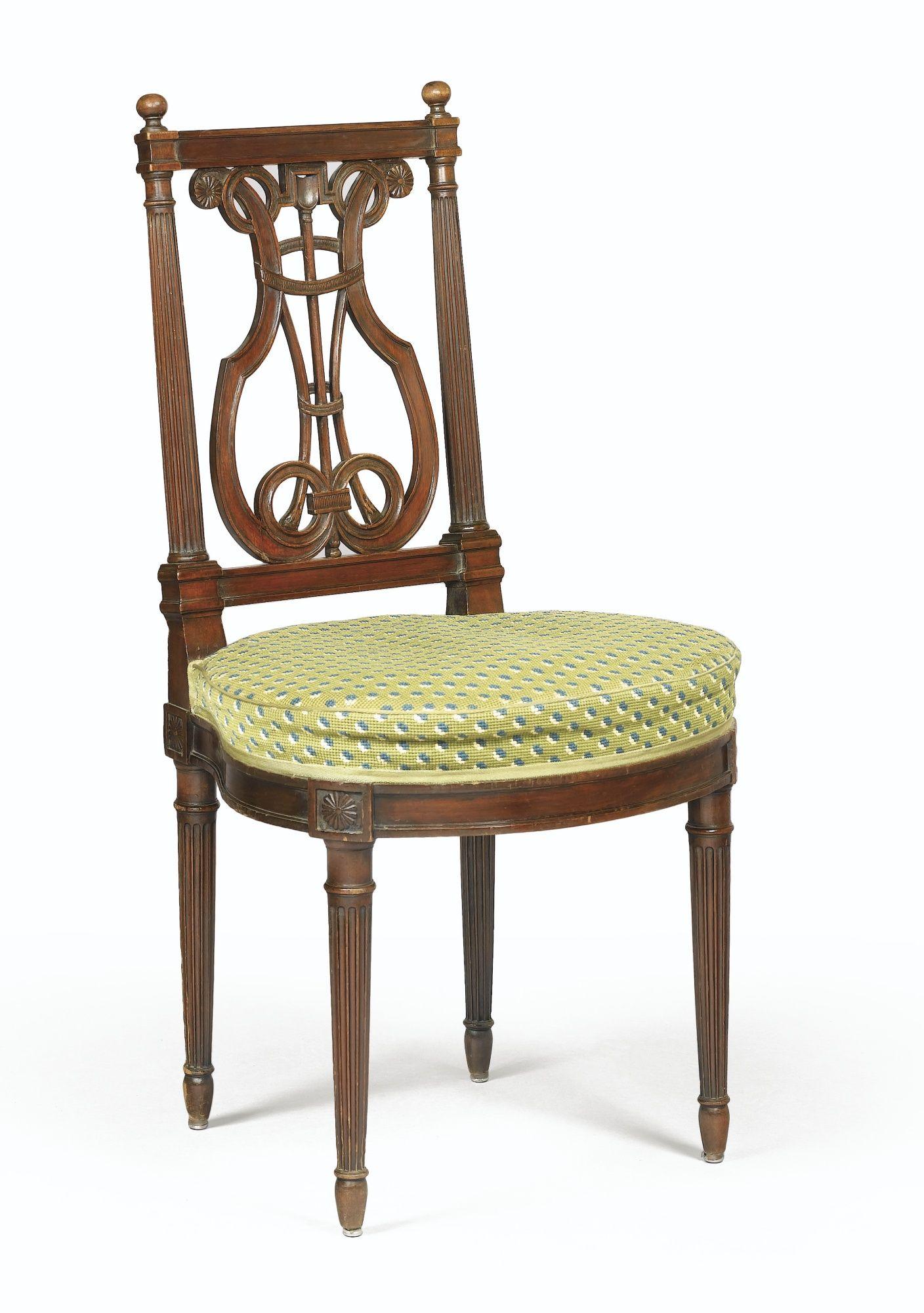 chaise en acajou dossier ajour en lyre d 39 poque louis xvi par georges jacob si ge fauteuil. Black Bedroom Furniture Sets. Home Design Ideas