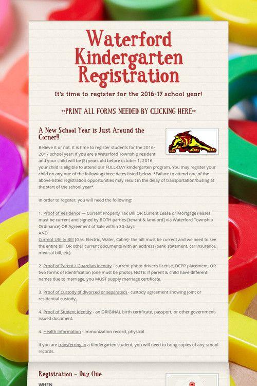 Waterford Kindergarten Registration