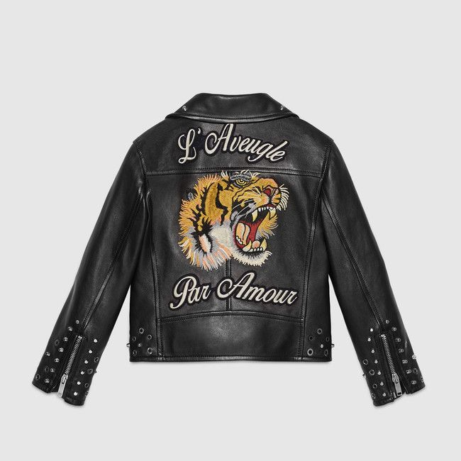 86a5f4e38e4 Gucci children s black leather jacket with an embroidered tiger and