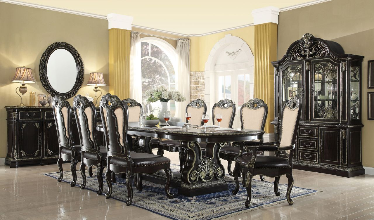 Aberdeen 112  Ebony Gold Extendable 9 PC Dining Table Set & Aberdeen 112