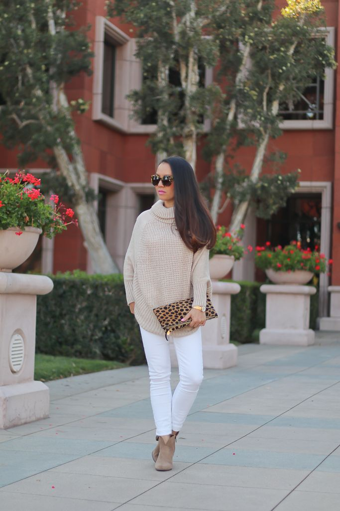 1d241aa37 Clare V leopard foldover clutch, Maison Jules Faux-Suede-Detail Poncho  Sweater, Paige denim verdugo white cropped jeans, Vince Camuto Franell  western ...