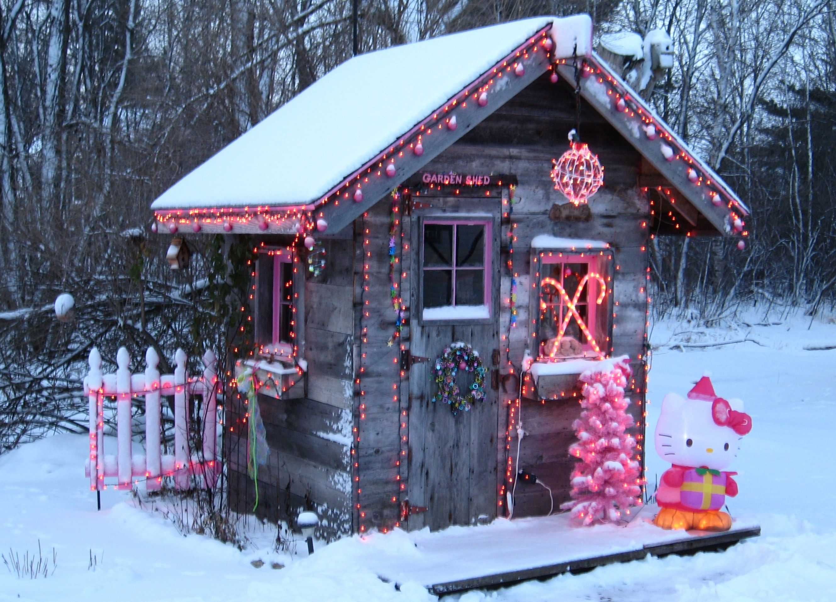 Garden shed at Christmas Christmas garden, Modern