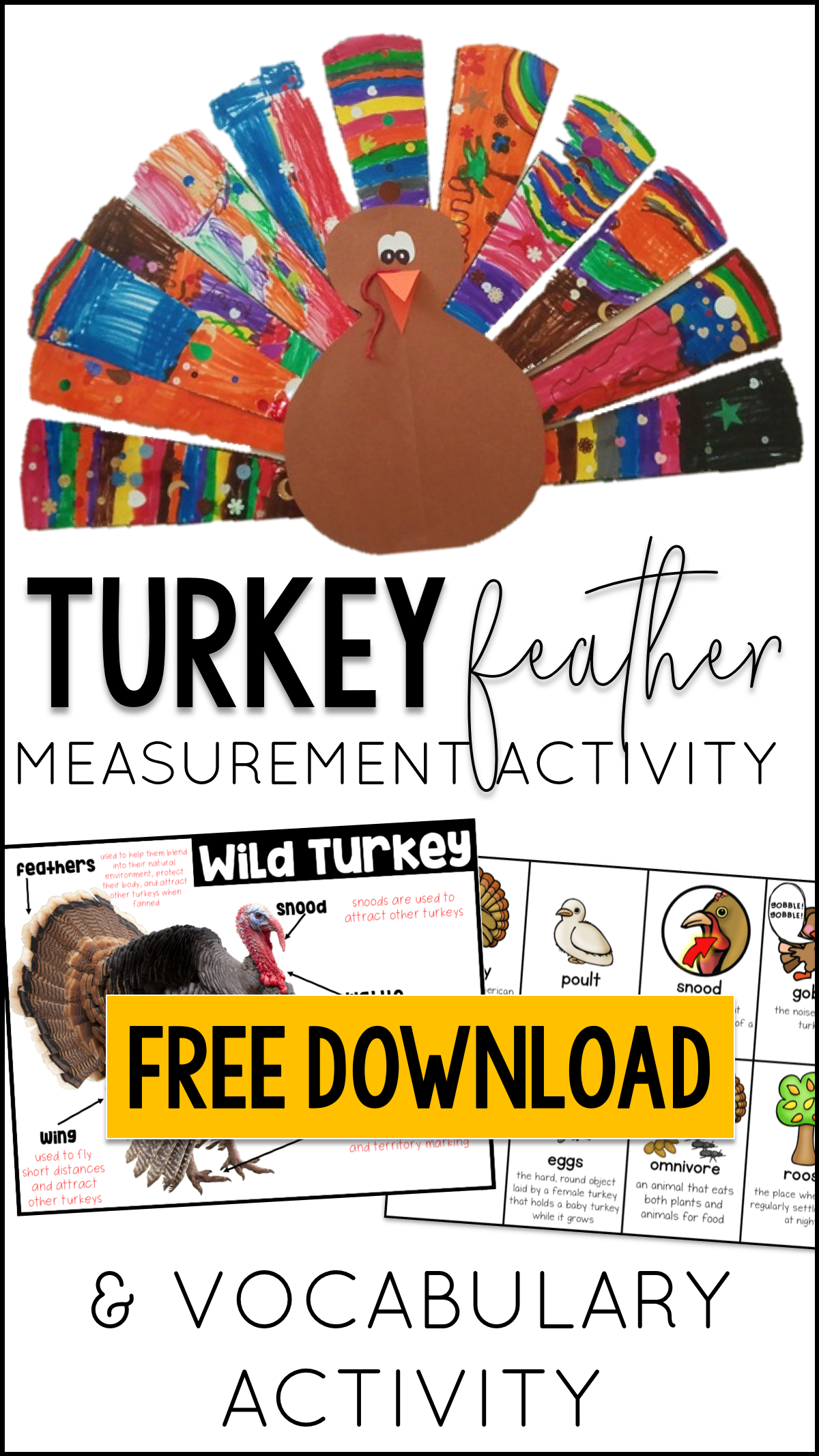 Turkey Feather Measurement Turkey Vocabulary And More