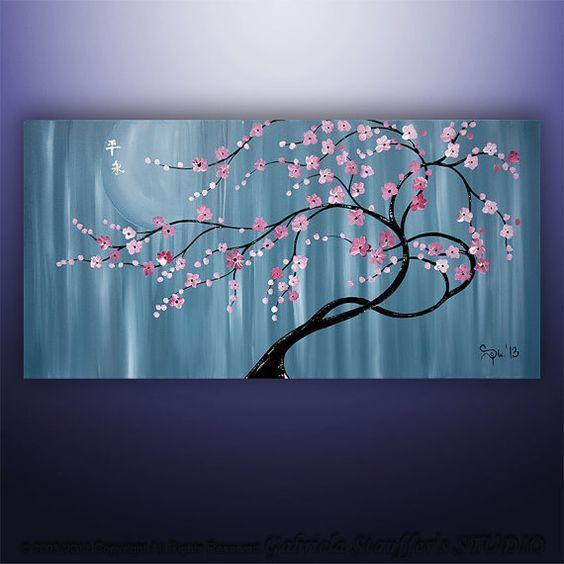 Custom Painting Abstract Painting Original Modern Asian Blossom Tree Original Painting Art By Gabriela 48 X24 Ab Abstract Art Painting Tree Painting Tree Art