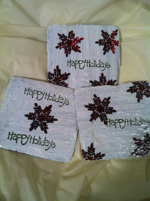 Home Decor, Coaster Set, Painted Coasters, Drink Coaster, Winter Coasters,  Christmas