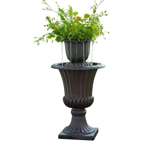Resin Outdoor Urn Flower Pot Water Fall Fountain ($100) ❤ liked ...