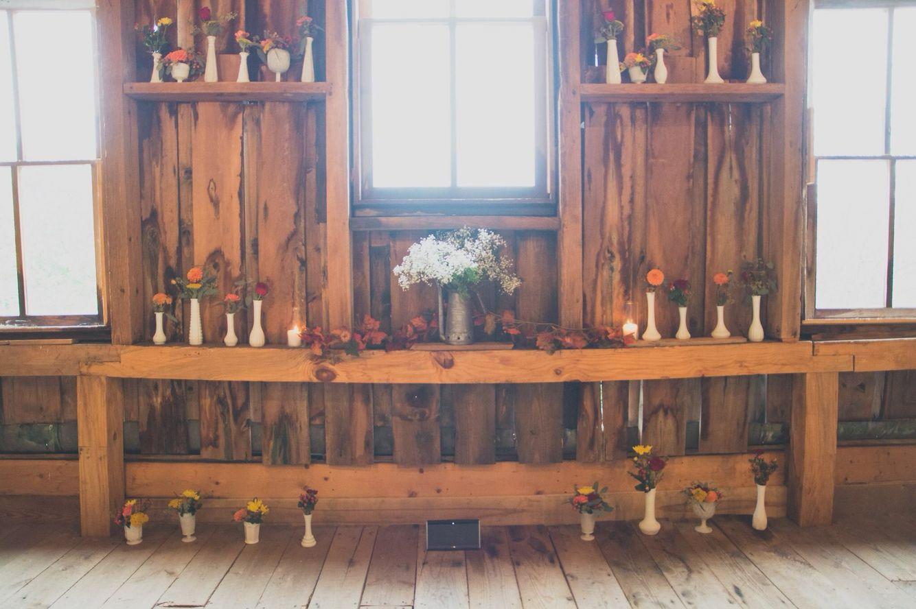 Milk glass fall wedding ceremony decor @bakerturepins ...