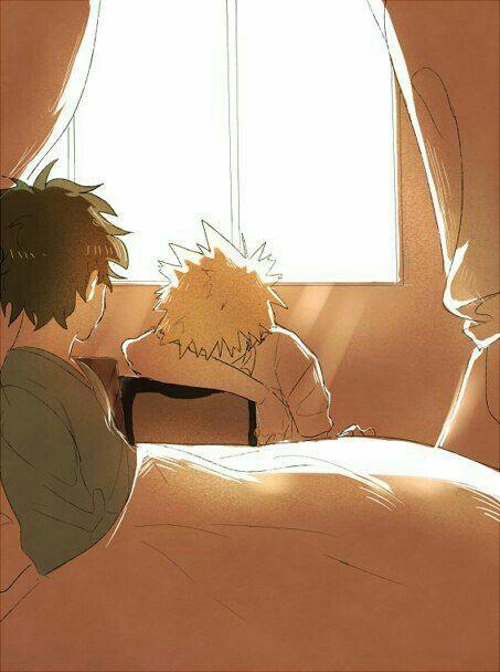 Izuku, Katsuki, sleeping, cute, bed; My Hero Academia