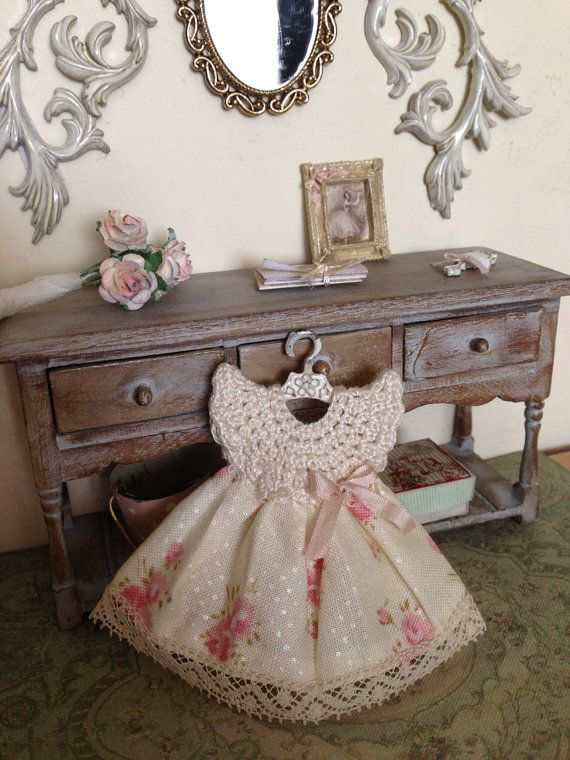 1/12 crochet dress and hanger - miniature dolls house - hand made - shabby chic style