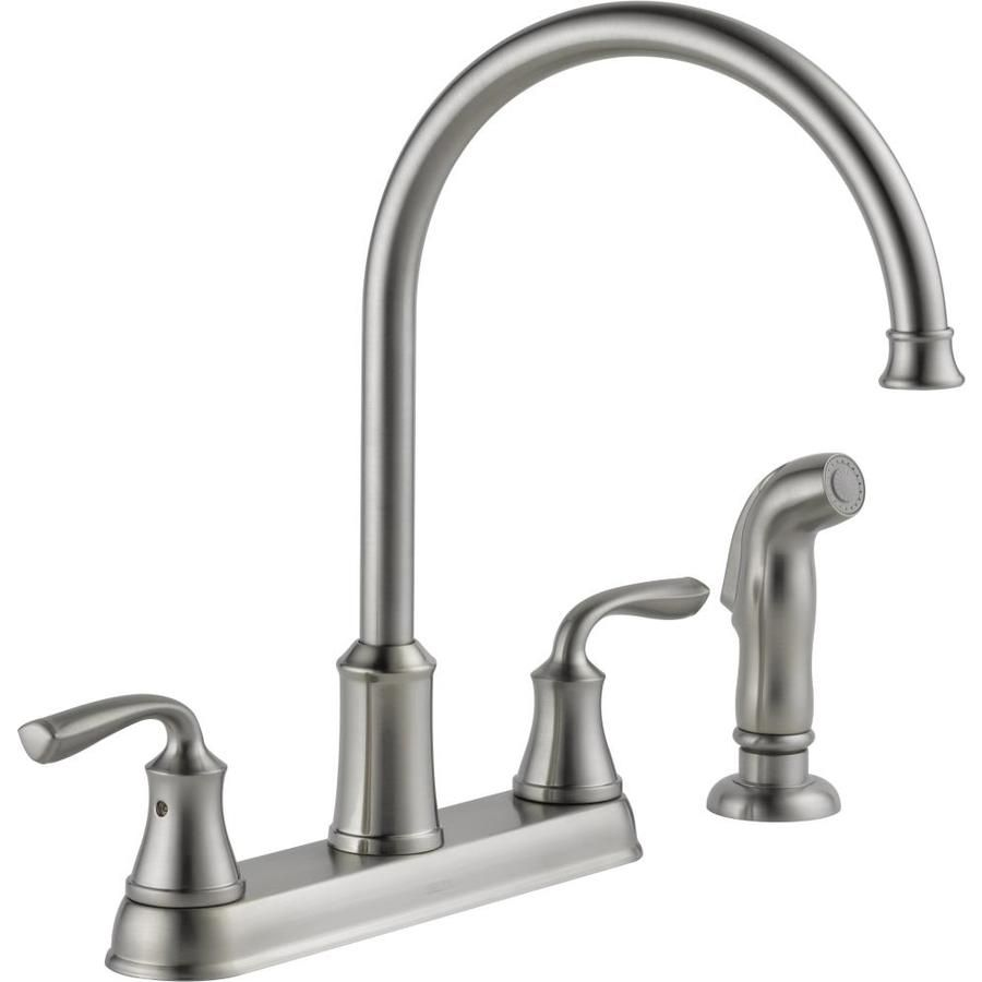Awesome Delta Lorain Stainless 2 Handle High Arc Deck Mount Kitchen Faucet Item #  672125