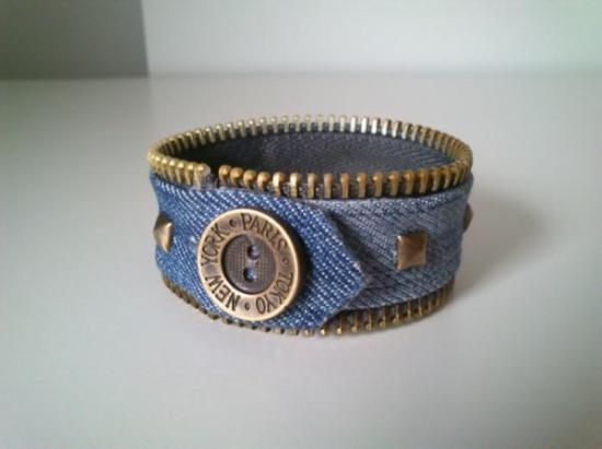 denim and zipper bangle