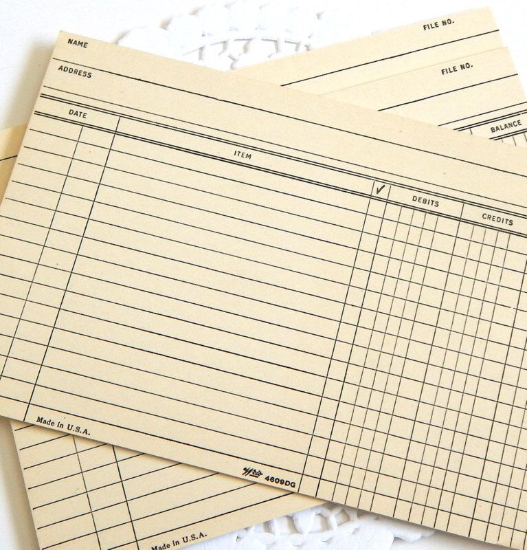 Vintage File Cards Office Supply Accounting Ledger Junk - time card