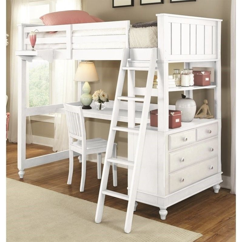 Ne Kids Lake House Twin Loft Bed With Desk In White Bunk Bed