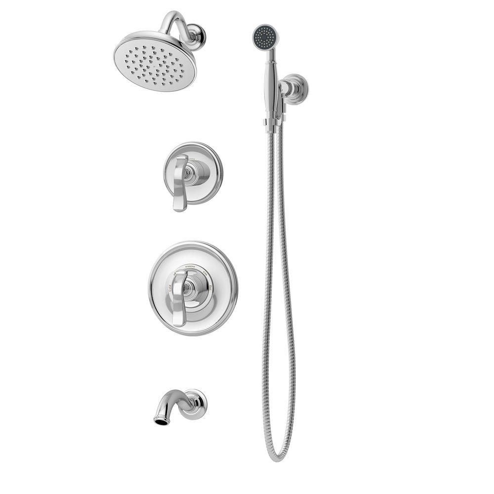 Symmons Winslet 2 Handle Tub And 1 Spray Shower Trim With 1 Spray