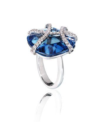 Cynthia Ring - Rachael SARC 18kt White Gold Ring with Blue Topaz, White Diamond Pavè