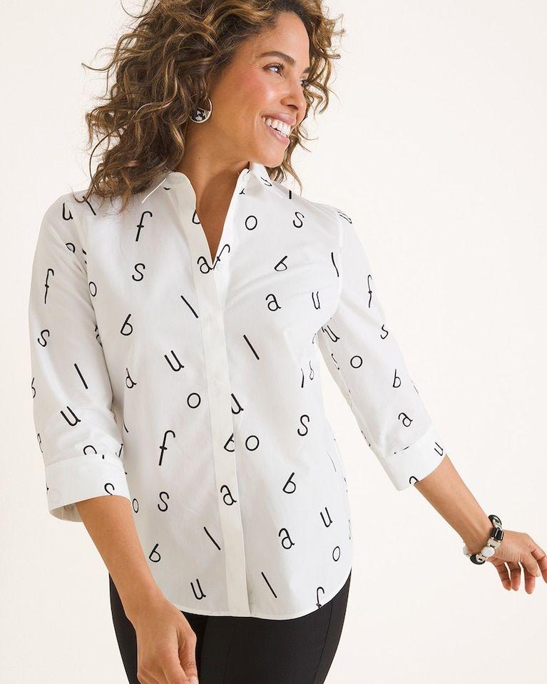 43a1adac1fd996 Chico s Women s No-Iron Cotton Fabulous Letter Print Stain Shield Shirt